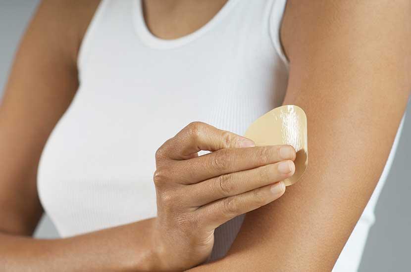 Platzieren Sie das Sliminazer-Pflaster immer auf gesunder Haut